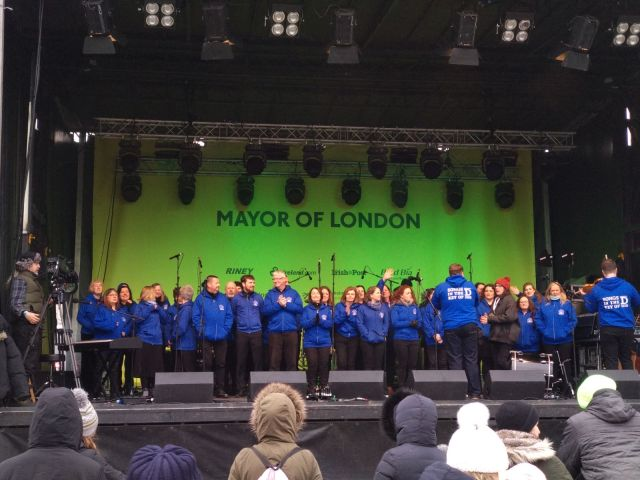 On stage in Trafalgar Square